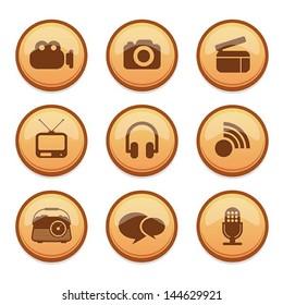 set of media icon, vector