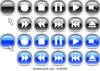 Set of media icons.  Vector illustration.