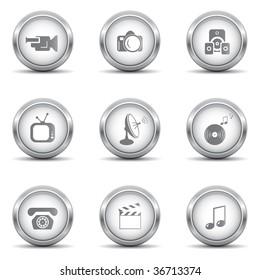 Set of media metallic icons
