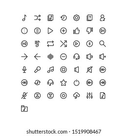 Set of media, music, mp-3 outline style icon - vector