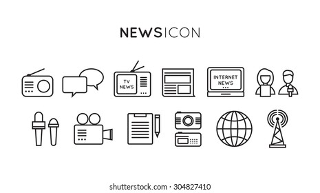 Set of media news, tv, global technology icons in flat design