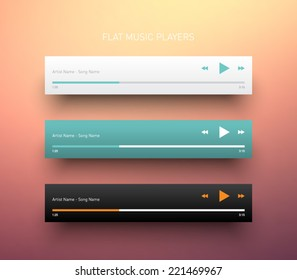 Set of media player application, app template with flat design style for smartphones, PC or tablets. Clean and modern