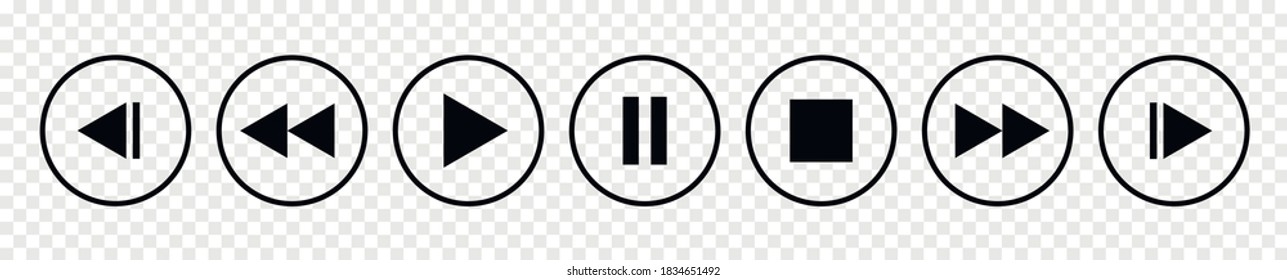 Set of media player button icons.Play and pause buttons,video audio player,player button set icon symbol,play and pause vector button.Vector illustration