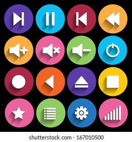 Set of media player buttons in flat design style