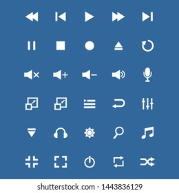 set of media player icon vector symbol