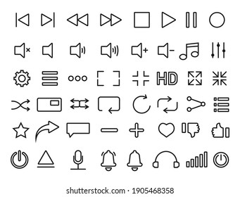 Set of media player icons in thin line style. Music, video player. Vector illustration