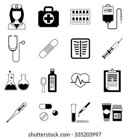 Set of medical black vector icons. Healthcare and medicine illustration