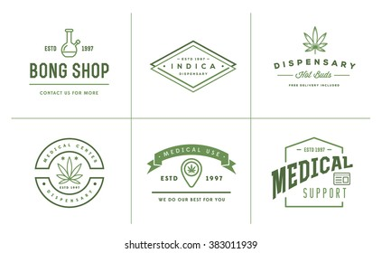 Set of Medical Cannabis Marijuana Sign or Label Template in Vector. Can be used as a Logotype.