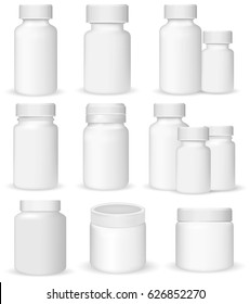 Set of medical containers on white background, realistic vector illustration.