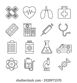 set of medical and hospital outline icon. isolated on white background. vector illustration in flat style design.