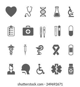 Set of medical icons including an pills tablets dentistry injection syringe hypodermic first aid kit plaster caduceus test tubes test kit
