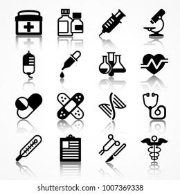 Set of medical icons on white shadow, medicine symbols in black. Vector illustration.