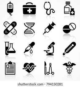 Set of medical icons on white with reflection, medicine symbols in black. Vector illustration.