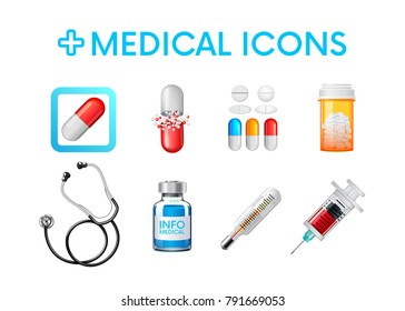 Set of medical icons,illustrations.  Painkillers, capsules, antibiotics,thermometer, syringe,stethoscope,ampoule. Vector illustration. For your design or game apps.