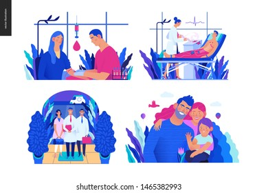 Set of medical insurance illustrations - blood test, ECG electrocardiography, specialists visit, family health and wellness- modern flat vector concept digital illustrations, insurance plan metaphor