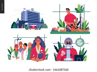 Set of medical insurance illustrations - hospital, orthopedic traumathology, hospital administrator, in vitro fertilization - modern flat vector concept digital illustrations, insurance plan metaphor