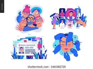 Set of medical insurance illustrations -opticians shop, find a doctor, medical id, health card, cosmetic, plastic surgery - modern flat vector concept digital illustrations, insurance plan metaphor