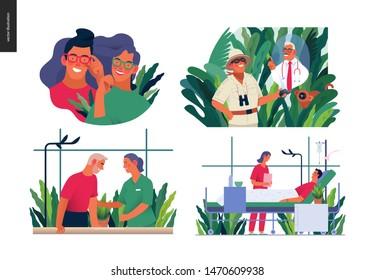Set of medical insurance illustrations -opticians shop, hospitalization, rehabilitation physiotherapy, online doctor service -modern flat vector concept digital illustrations, insurance plan metaphor