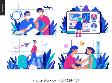 Set of medical insurance illustrations - routine dental checkups, medical application, medical tourism, pediatrics - modern flat vector concept digital illustrations, insurance plan metaphor