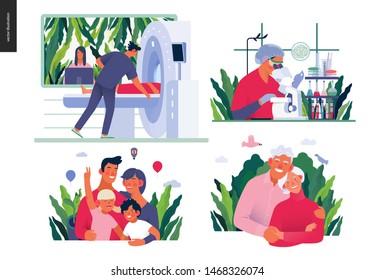 Set of medical insurance - MRT - magnetic resonance tomography, chemical laboratory analysis, family health and wellness, senior citizen health plan - modern flat vector concept digital illustrations