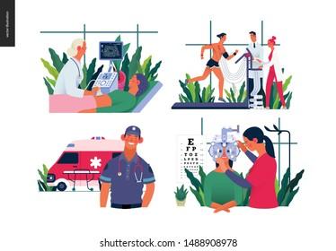 Set of medical insurance - ultrasonography, ultrasound, cardiac stress test, ambulance transport emergency evacuation, eye tests prescription glasses - modern flat vector concept digital illustrations