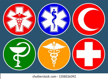 Set of medical international symbols decorated in a circle. Star of life, staff of Asclepius, caduceus, bowl with a snake, medical cross and crescent. Isolated symbols on dark background. Vector