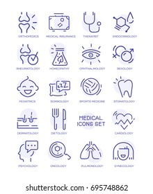 Set of medical line icons. Vector web signs, buttons.