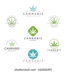 Set of medical marijuana cannabis leaf logo, labels.