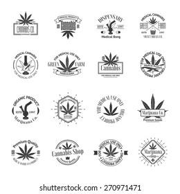 Set of medical marijuana logos. Cannabis badges, labels and logos for your shop design