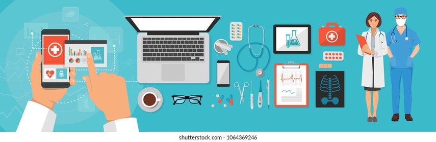 set of medical objects, doctor's desk: first aid kit, syringe, pills, stetoscope, online recording and registration via mobile communication, hand with telephone, people therapist and nurse