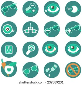 Set of medical and ophthalmic icons in a circle on a white background