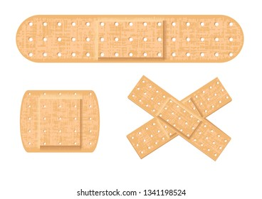 set of medical patch isolated on white
