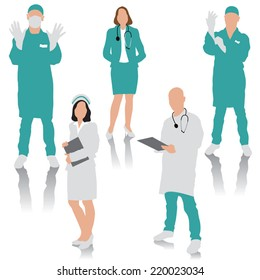 Set of medical people. Doctor, surgeons and nurse. Vector illustration