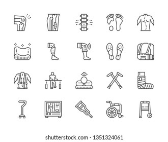 Set of Medical Rehabilitation and Orthopedic Line Icons. Backbone Pain, Flat Foot, Scoliosis, Prosthesis, Bandage, Physiotherapy, Mri Scanner, Crutches, Wheelchair and more. Pack of  48x48  Pixel Icon