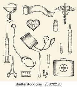 Set of medical supplies, hand-drawn, vector illustration.