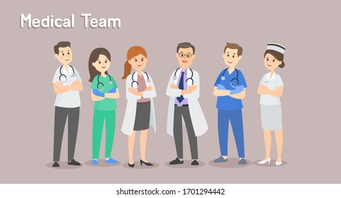 Set Medical Team Character Vector