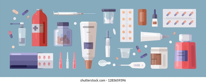 Set of medical tools and medicines isolated on white background - pills in blisters and jars, syringe, thermometer, patch, nasal spray, mixture, ointment in tube. Flat cartoon vector illustration.