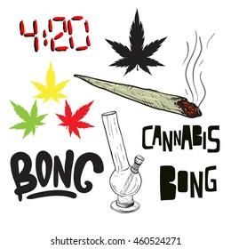 Set of medical vintage cannabis elements. Marijuana leaf. 4:20