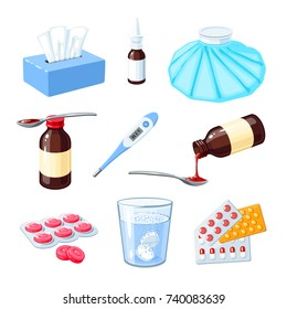 Set of medicinal remedy for sore throat, flu, influenza, cough: medicine syrup, ice bag, lozenges, pills, capsules, drugs. Vector illustration cartoon icon collection isolated on white.