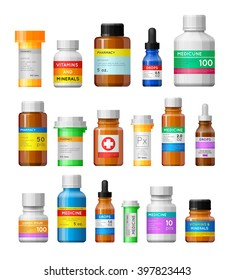 Set of medicine bottles with labels. Empty bottles for drugs,tablets,capsules,prescriptions,vitamins etc. Pharmaceutic containers isolated on white background.
