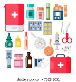 Set of medicine bottles with pills. drugs, tablets, hospital equipment