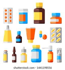 Set of medicine bottles and pills. Medical illustration in flat style.