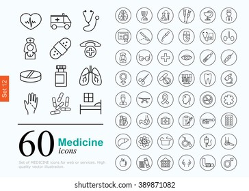 Set of medicine icons for web or services. 60 design line icons high quality, vector illustration.