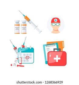 Set of medicine items for vaccination infographic. Vector illustration in flat style on white background