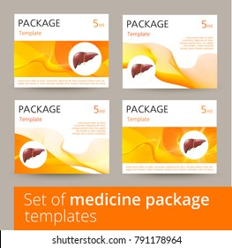 Set of Medicine package template design variations with realistic human liver.