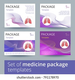 Set of Medicine package template design variations with realistic human lungs.
