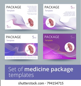 Set of Medicine package template design variations with realistic human spleen.