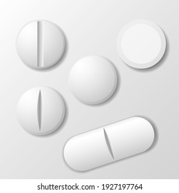 Set of medicine pill, tablet drug round and oval, vector