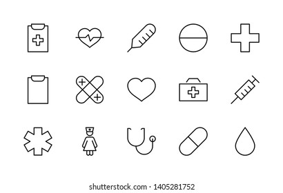 Set of Medicine vector line Free icons. It contains the first aid kit, nurse, syringe, thermometer, plastic, pills, heart, drop of blood, palpitation and much more. Editable Stroke. 32x32 pixels.