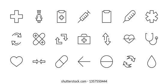 Set of Medicine vector line icons. It contains the first aid kit, nurse, syringe, thermometer, plastic, pills, heart, drop of blood, palpitation and much more. Editable Stroke. 32x32 pixels.